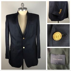Tommy Hilfiger Men's Blazer 44L Blue Gold Button